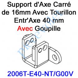 2006T-E40-NT/G00V Support d'Axe en Carré de 16 Avec Tourillon Entr'Axe 40 mm Avec Goupille