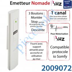 2009072 Emetteur Nomade Aspect 2015 Simu BHz ou Somfy io 868-870 Mhz Blanc (1 canal) Led Verte