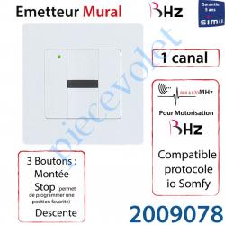 2009078 Emetteur Mural Aspect 2015 Simu BHz ou Somfy io 868-870 Mhz Blanc (1 canal) Led Verte