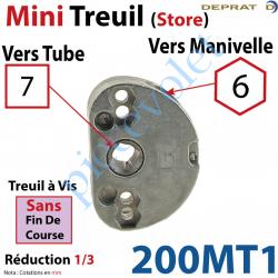 200MT1 Treuil à Vis 1/3 Sans Fdc Carré 7 Sortie Hexa 6