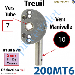 200MT6 Treuil à Vis 1/3 Sans Fdc Carré 7 Sortie Ronde Diamètre 10 mm Longueur 20 mm