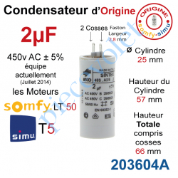 203604A Condensateur d'Origine pour Moteur Tubulaire Simu ou Somfy à Cosses Faston 2,8 mm Capacité 2µF ±5% 400-450v
