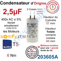 203605A Condensateur d'Origine pour Moteur Tubulaire Simu ou Somfy à Cosses Faston 2,8 mm Capacité 2,5µF ±5% 400-450v
