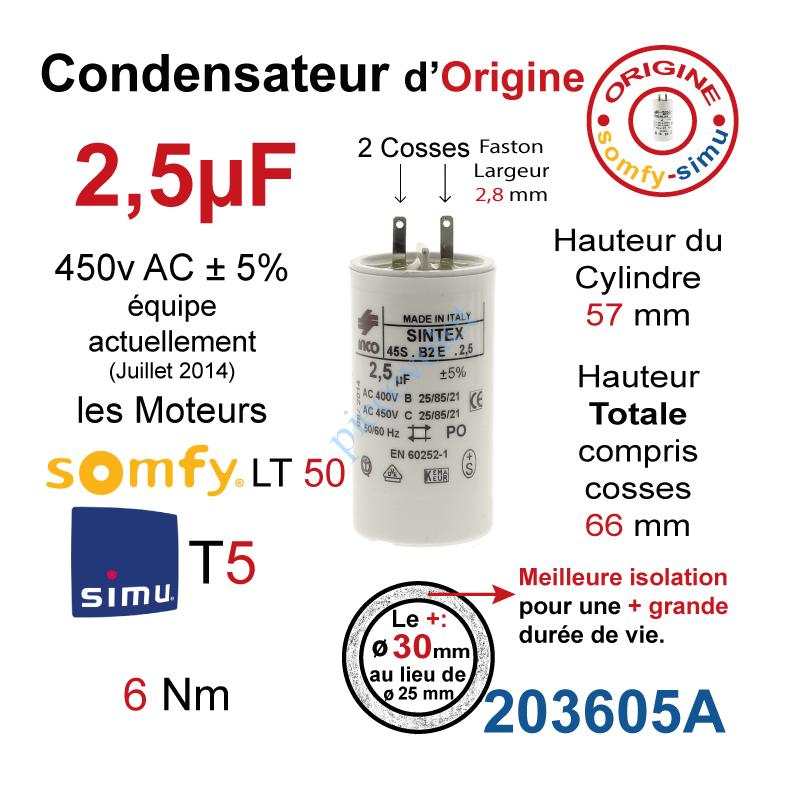 µF Condensateur de 2.5 uF pour moteur SOMFY ou SIMU de volet roulant ou store