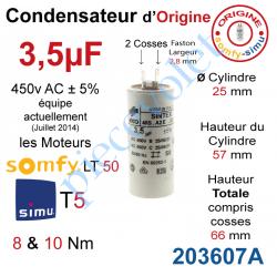 203607A Condensateur d'Origine pour Moteur Tubulaire Simu ou Somfy à Cosses Faston 2,8 mm Capacité 3,5µF ±5% 450 v
