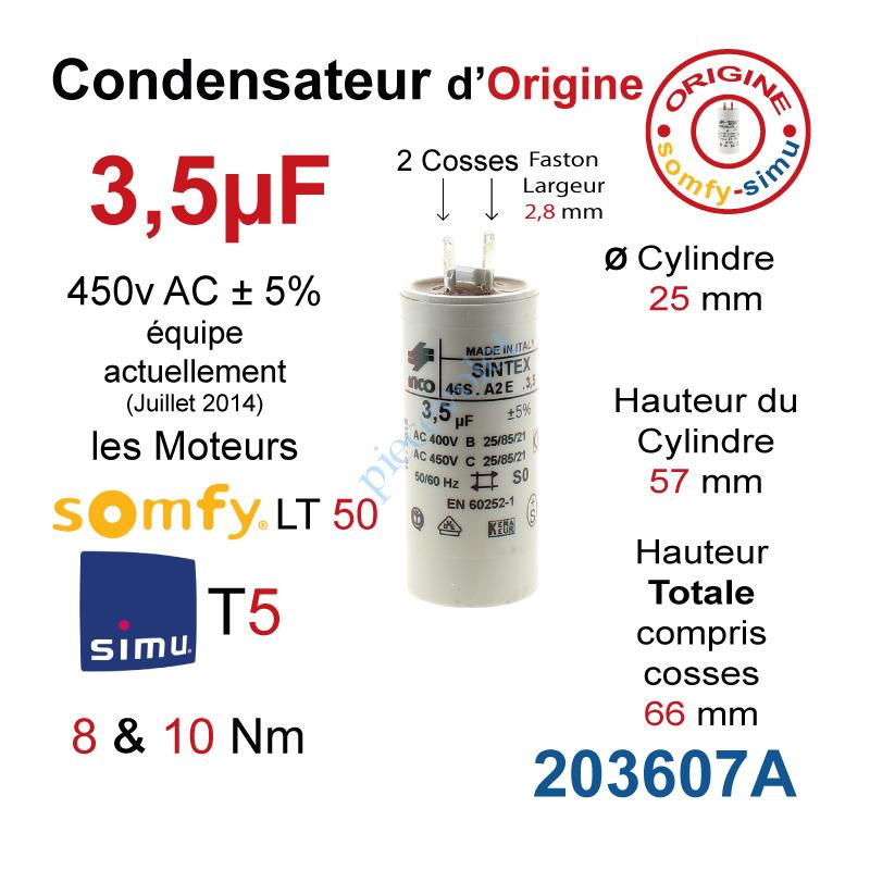 Inco 203607a Condensateur D Origine Pour Moteur Tubulaire Simu Ou Somfy A Cosses Faston 2 8 Mm Capacite 3 5µf 5 450 V