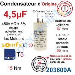 203609A Condensateur d'Origine pour Moteur Tubulaire Simu ou Somfy à Cosses Faston 2,8 mm Capacité 4,5µF ±5% 400-450v