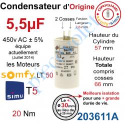 203611A Condensateur d'Origine pour Moteur Tubulaire Simu ou Somfy à Cosses Faston 2,8 mm Capacité 5,5µF ±5% 400-450v