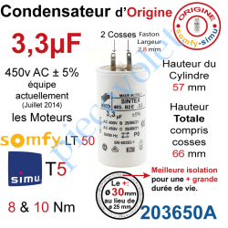 203650A Condensateur d'Origine pour Moteur Tubulaire Simu ou Somfy à Cosses Faston 2,8 mm Capacité 3,3µF ±5% 400-450v