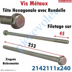 2142111X240 Vis Métaux Tête Hexagonale Avec Rondelle sous tête Zinguée Bichromatée 11 x 240 mm Filetage Partiel