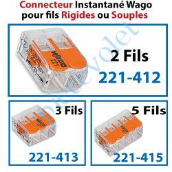 221-412 Borne Mini Connexion à Leviers 2 Fils Souples ou Rigides jusqu'à 4 mm² Intensité Max 32A Tension 450v