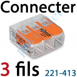 221-413 Borne Mini Connexion à Leviers 3 Fils Souples ou Rigides jusqu'à 4 mm² Intensité Max 32A Tension 450v