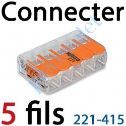 221-415 Borne Mini Connexion à Leviers 5 Fils Souples ou Rigides jusqu'à 4 mm² Intensité Max 32A Tension 450v