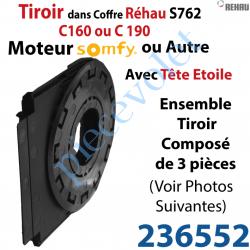 236552 Tiroir pour Moteur Tubulaire Somfy pour Coffre Rehau S762 C160 ou C190