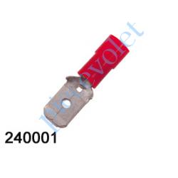 240001 Cosse Rouge Mâle Isolée Languette 6,35 mm