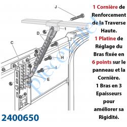 2400650 Kit de Renforcement du Panneau de Porte Sectionnelle et du Bras de Tirage du Dexxo Pro Avec Platine Réglable pour Fixati