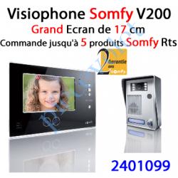2401099 Visiophone Couleur Somfy V200 2 Fils Avec Emetteur Rts Intégré Version Noire
