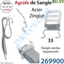 269900 Agrafe de Sangle Réglable en Acier Zingué Crochet en Inox pour Tubes d'enroulement Octogonaux