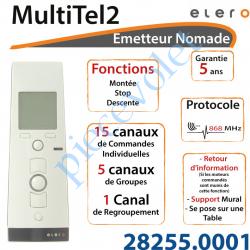28255.0001 Emetteur Nomade MultiTel 2 Avec Retour d'informations Coloris Blanc 15 Canaux