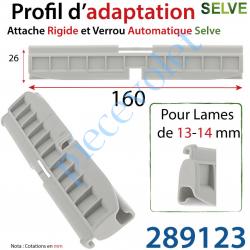 289123 Profil d'adaptation Hauteur 26mm pour Attache Rigide et Verrou Automatique Selve pour Lame de 13-14 mm d'épaisseur