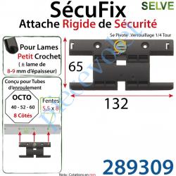 289309 Attache Rigide SécuFix Sans Mini Maillon Verrouillable sur Tube Octo avec Fentes de 5x8 Entre-Axes 60mm pour Lame 8-9 mm