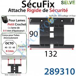 289310 Attache Rigide SécuFix Avec 1 Mini Maillon Verrouillable sur Tube Octo avec Fentes de 5x8 Entre-Axes 60mm pour Lame 8-9 m