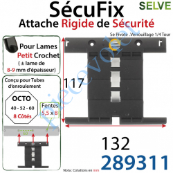289311 Attache Rigide SécuFix Avec 2 Mini Maillons Verrouillable sur Tube Octo avec Fentes de 5x8 Entre-Axes 60mm pour Lame 8-9