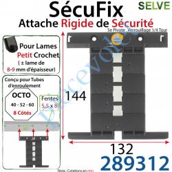 289312 Attache Rigide SécuFix Avec 3 Mini Maillons Verrouillable sur Tube Octo avec Fentes de 5x8 Entre-Axes 60mm pour Lame 8-9