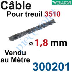 300201 Câble Acier Diamètre 1,8 mm pour Treuil à Câble Réf.: 3510G ou 3510D