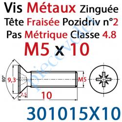 301015X10 Vis Métaux Tête Fraisée Pozidriv Zinguée 5 x 10 mm Classe 4.8 Din 965