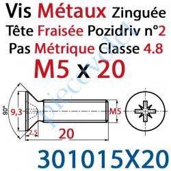 301015X20 Vis Métaux Tête Fraisée Pozidriv Zinguée 5 x 20 mm Classe 4.8 Din 965