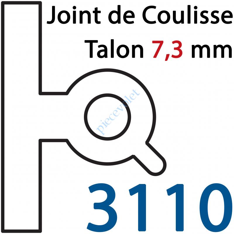 """3110 Joint Noir pour Coulisses de Rénovation Talon 7,3 mm Lames de 8 mm -9 mm """"n°3"""""""