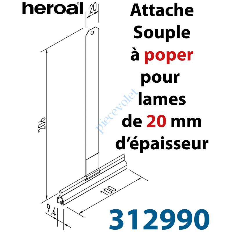 31299000 Attache Tablier Marron Longueur 200 mm à Visser pour Lame 20 mm d'épaisseur