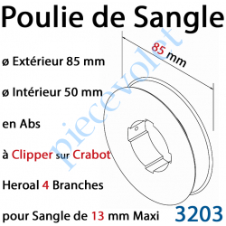 3203 Poulie de Sangle en Abs ø 85 mm à Clipper sur Crabot Heroal 4 Branches