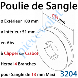3204 Poulie de Sangle en Abs ø 100 mm à Clipper sur Crabot Heroal 4 Branches