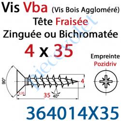 364014X35 Vis Vba Tête Fraisée Pozidriv Filetage Total Acier Zingué 4 x 35 mm