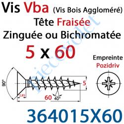 364015X60 Vis Vba Tête Fraisée Pozidriv Filetage Total Acier Zingué 5 x 60 mm