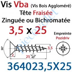 364023,5X25 Vis Vba Tête Fraisée Pozidriv Filetage Total Acier Zingué Bichromaté 3,5 x 25 mm
