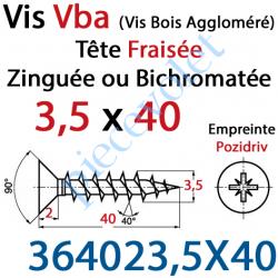 364023,5X40 Vis Vba Tête Fraisée Pozidriv Filetage Total Acier Zingué Bichromaté 3,5 x 40 mm