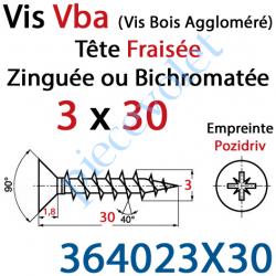364023X30 Vis Vba Tête Fraisée Pozidriv Filetage Total Acier Zingué Bichromaté 3 x 30 mm