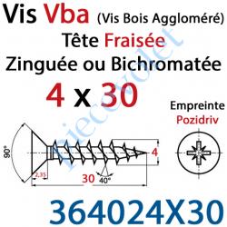 364024X30 Vis Vba Tête Fraisée Pozidriv Filetage Total Acier Zingué Bichromaté 4 x 30 mm