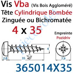 365014X35 Vis Vba Tête Cylindrique Bombée Pozidriv Filetage Total Acier Zingué ou Zingué-Bichromaté 4 x 35 mm