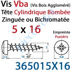 365015X16 Vis Vba Tête Cylindrique Bombée Pozidriv Filetage Total Acier Zingué ou Zingué-Bichromaté 5 x 16 mm