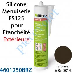 396401 Silicone Menuiserie FS125 pour Etanchéité Extérieure Coloris Bronze ± Ral 8014 en Cartouche de 310 ml