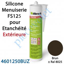 396402 Silicone Menuiserie FS125 pour Etanchéité Extérieure Coloris Brun ± Ral 8025 en Cartouche de 310 ml
