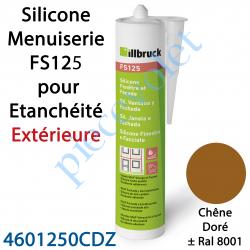 396403 Silicone Menuiserie FS125 pour Etanchéité Extérieure Coloris Chêne Doré ± Ral 8001 en Cartouche de 310 ml
