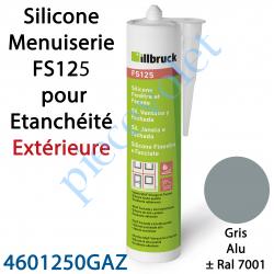 396406 Silicone Menuiserie FS125 pour Etanchéité Extérieure Coloris Gris Alu ± Ral 7001 en Cartouche de 310 ml
