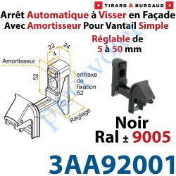 3AA92001 Arrêt Automatique à Visser en Façade AA3G Avec Amortisseur pour Vantail Simple Réglable de 5 à 50mm Noir ± Ral 9005