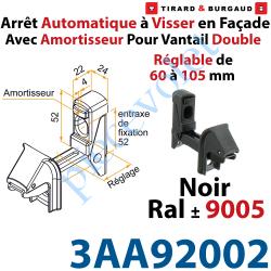 3AA92002 Arrêt Automatique à Visser en Façade AA3G Avec Amortisseur pour Vantail Double Réglable de 60 à 105mm Noir ± Ral 9005