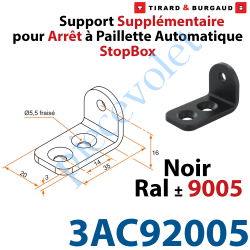 3AC92005 Support Supplémentaire en inox pour Tirette 4AC92001 Noir ± Ral 9005